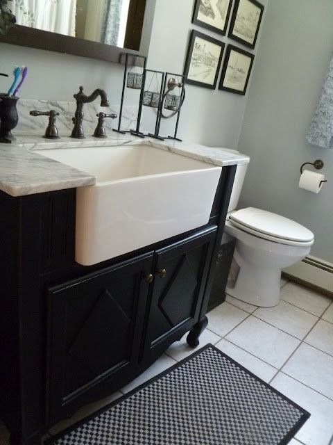 Modify: Wall Mount Sink + open plumbing + Chrome Sink Legs to hold countertop + extend over toilet w/ 3rd leg … reduced countertop depth over toile -OR- recess the countertop back from sink front for uniform extended counter depth ??? #bathroomlaundry