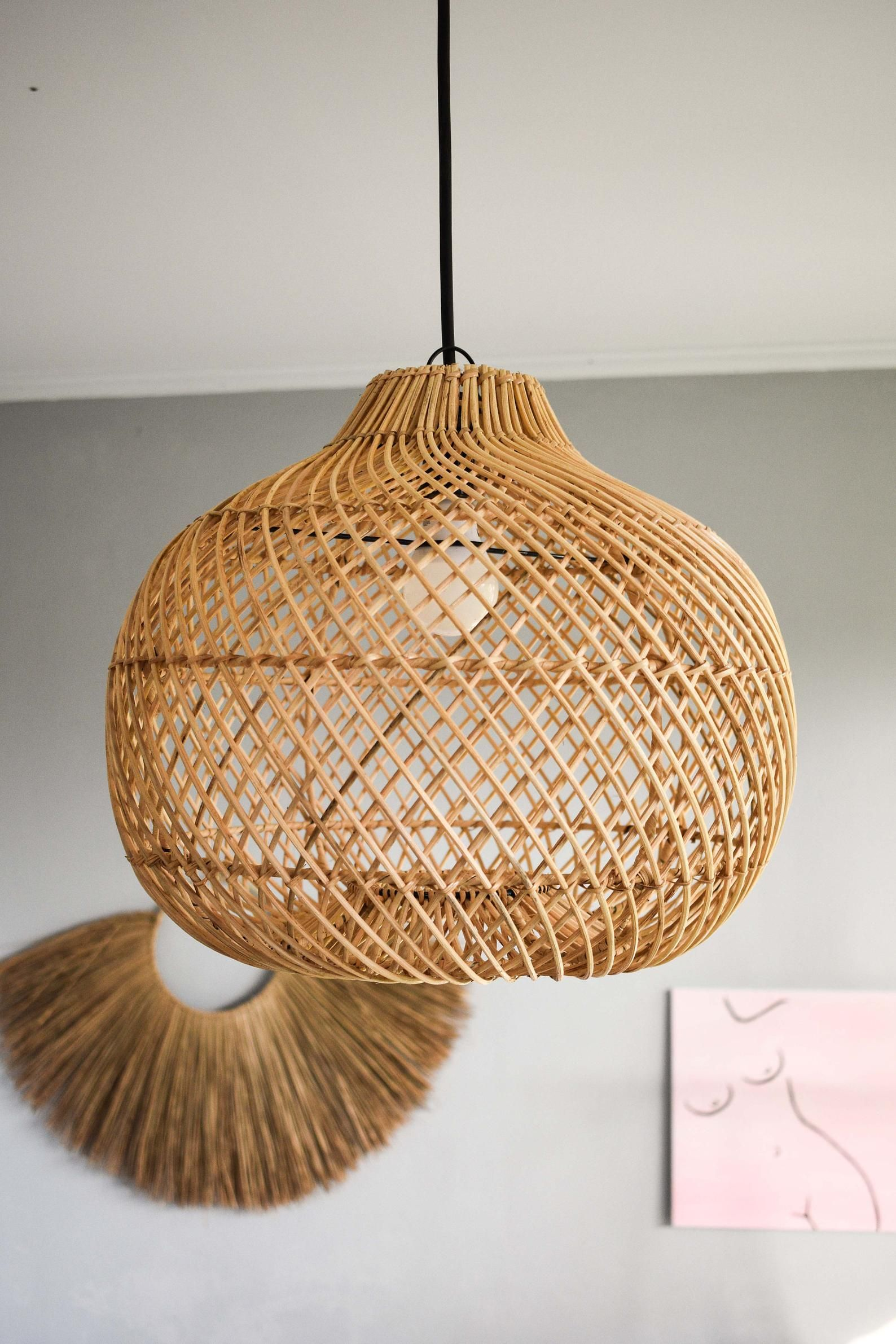 wicker lamp rustic pendant light