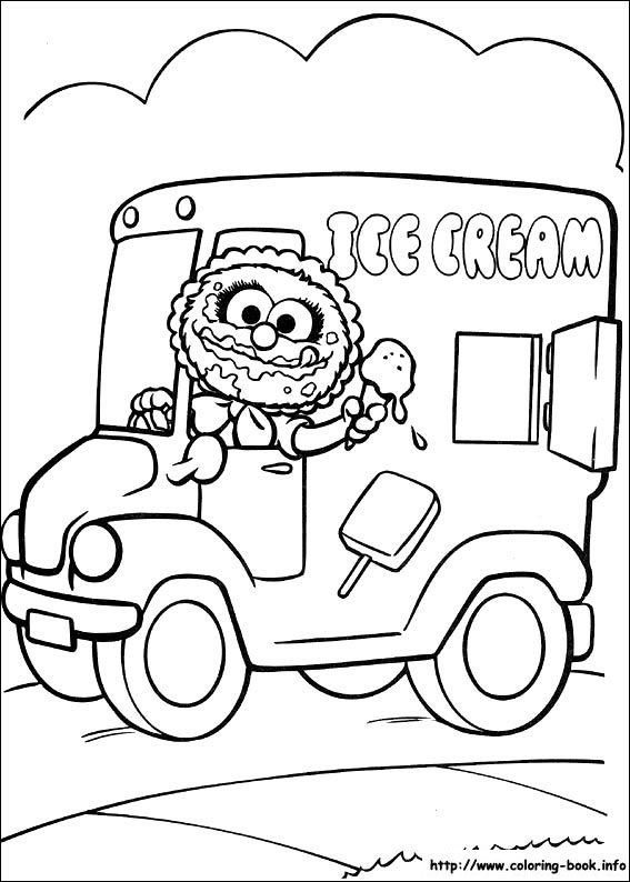 Muppet Babies Animal Ice Cream truck coloring picture | muppets ...