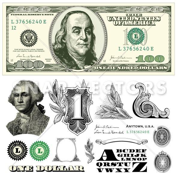 Vector 100 Dollar Bill Template | Pinterest | Bill template, Tattoo ...
