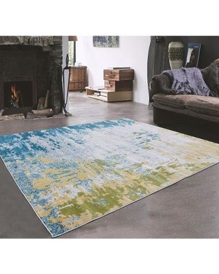 Grey Green Turquoise With Very Light Yellow Indoor Area Rug 5 3 X 7 4 63 Inches By 88 6 Blue Size Plastic Abstract From