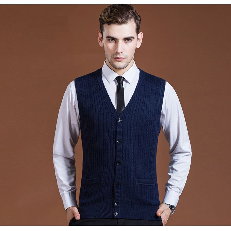 Men's Fashion Clothing New Wool Sweater Cardigan Jacket Sleeveless ...