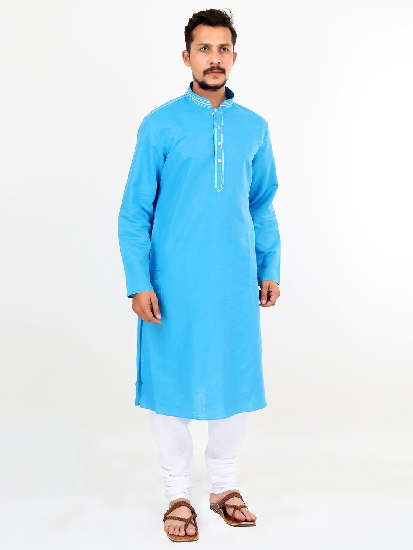 Blue Festive Wear Linen Men Kurta Suit | Buy Men\'s Kurta Suits ...