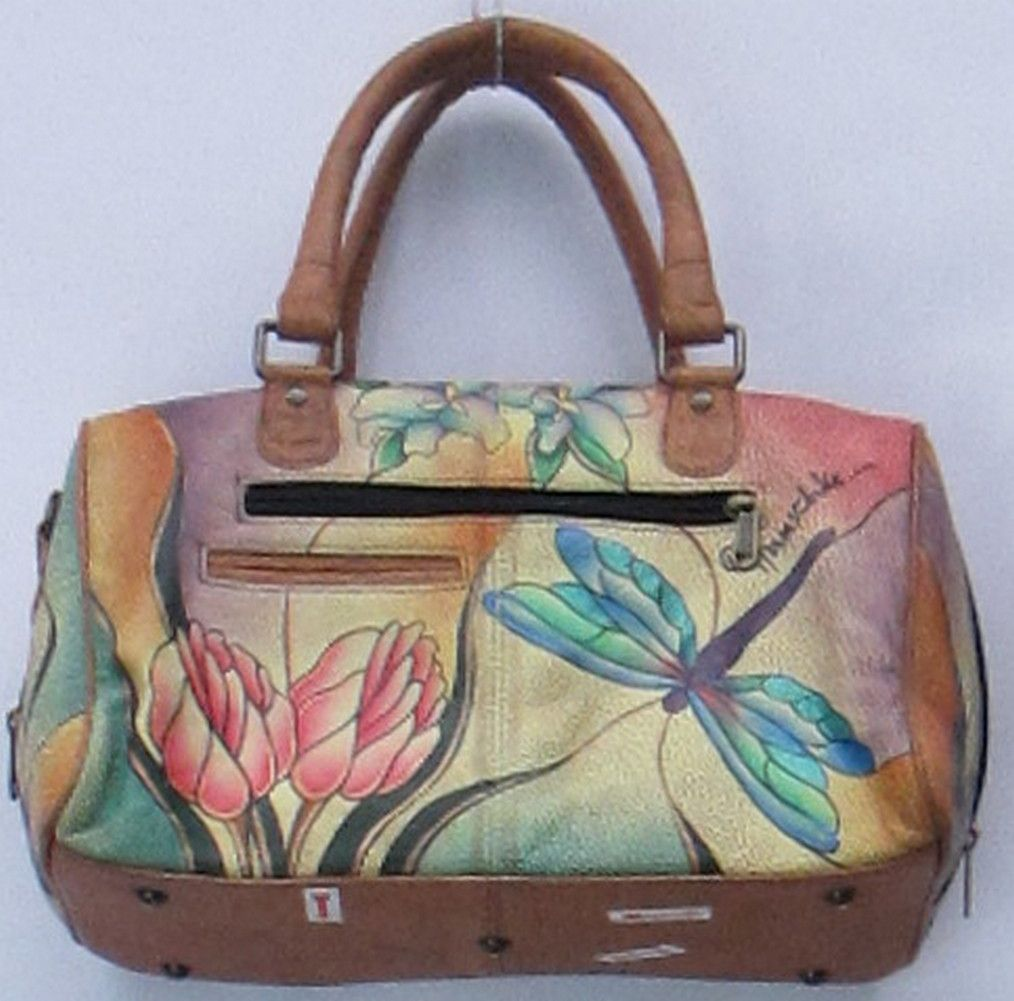 Chka Leather Cat Handbags Sz Medium Hand Painted Satchel Dragonfly Handbag