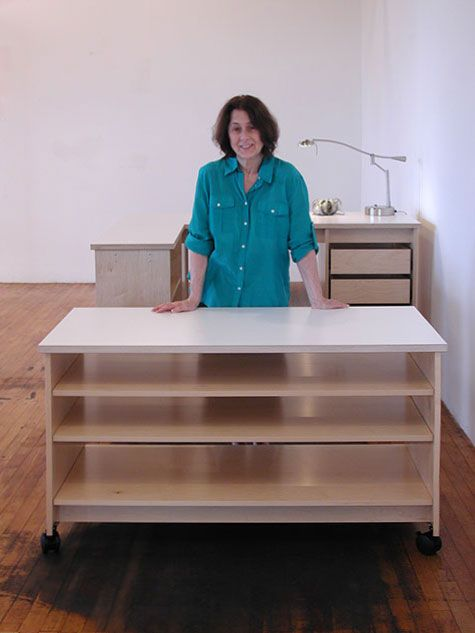 Attractive Art Studio Rolling Work Table With Adjustable Large Art Storage Shelves And  Art Studio Desk.