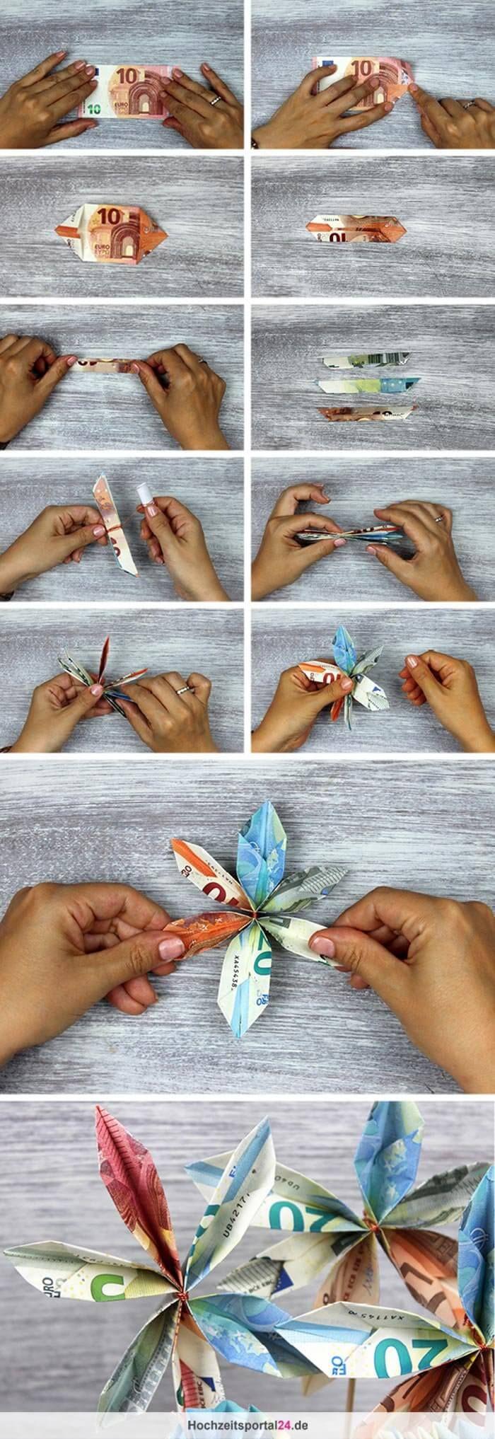 Ganz einfach: wunderschöne Geldblumen falten mit denen ihr ...