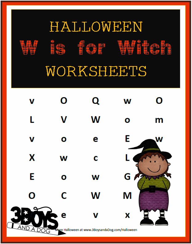Halloween Printables W is for Witch Halloween