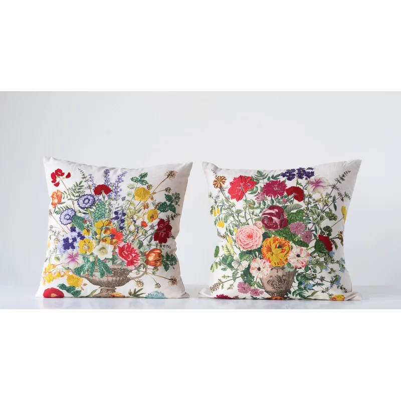 Clarkfield With Embroidered Flowers Throw Pillow Flower Throw Pillows Throw Pillows Floral Pillows