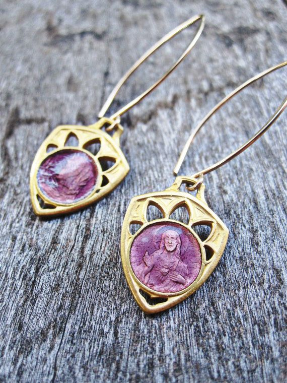 Gold French Antique Catholic Medal Earrings, Saint Mary and Jesus Christ, Rose Purple Pink Enamel, Dangle Drop, Simple Everyday, Unique