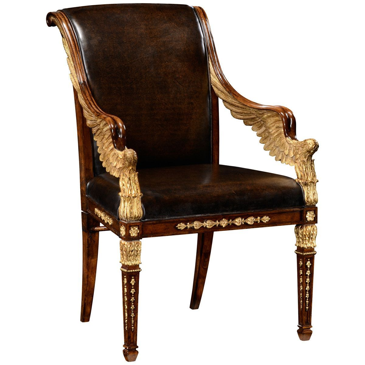 Impressive Walnut And Gilt Empire Style Armchair With