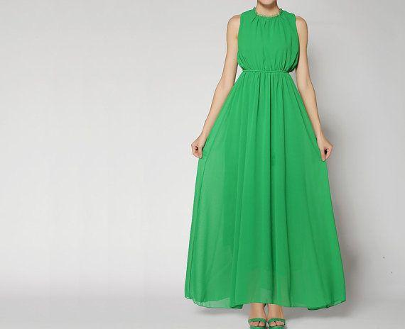 099c9d9ab8 Maxi Dress Summer Dress Green Chiffon Sundress Behind by starriver Boho  Green, Boho Style,
