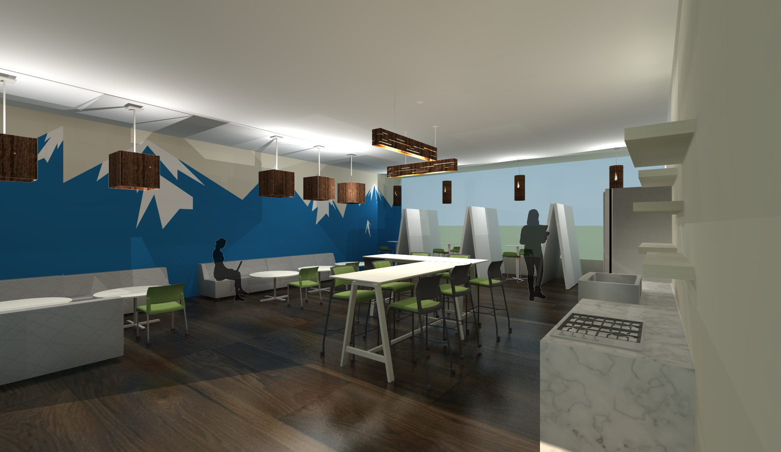 sustainable office furniture. Sketchup Rendering Of Kitchen \u0026 Meeting Space View #1 - Sustainable Office Design Project Furniture