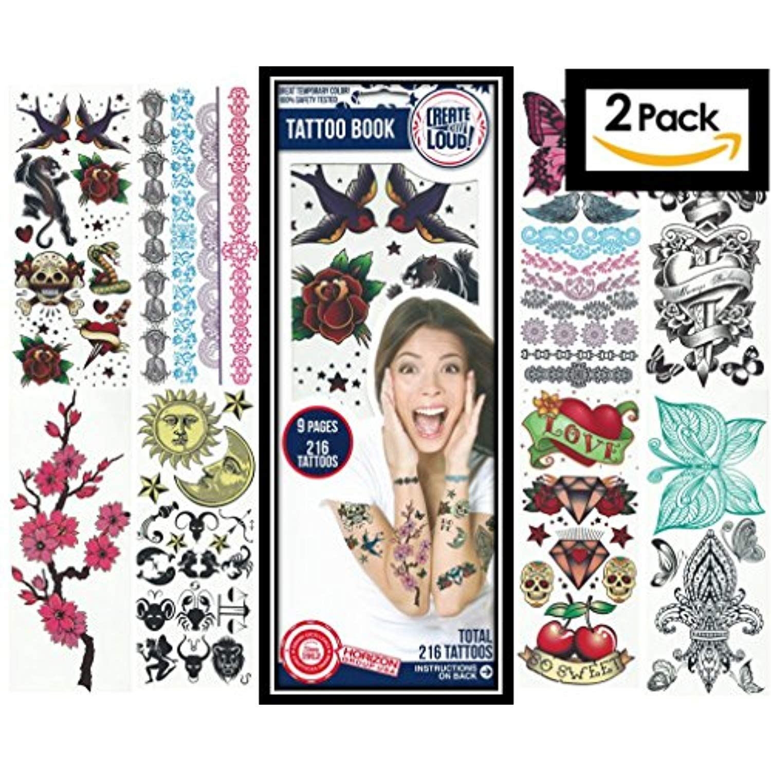 Temporary Tattoos for Kids ✮ 2-Pack ✮ 432 Color Temporary Tattoo ...