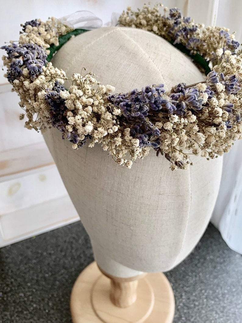 Babies Breath and Dried Lavender flower crown