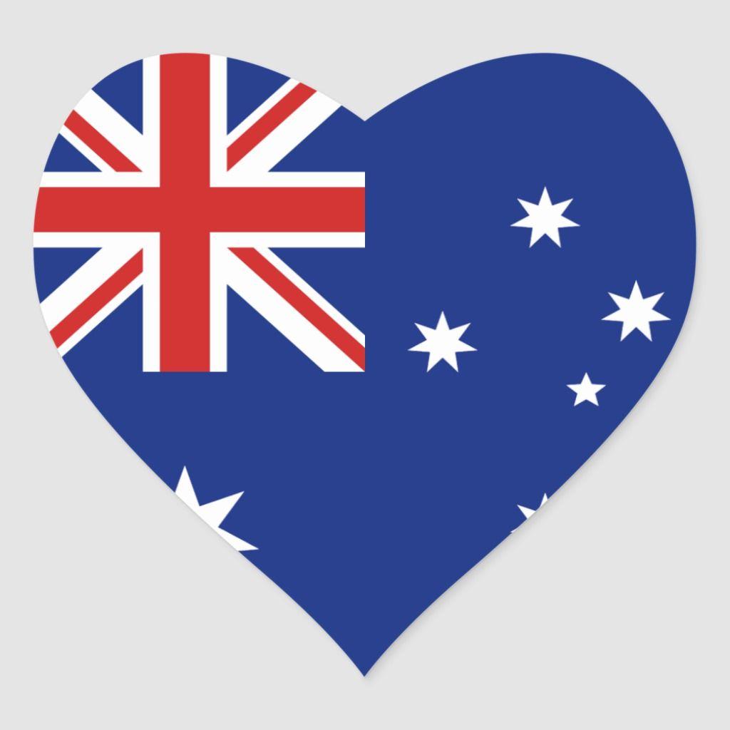 Australia Flag Heart Sticker Zazzle Com In 2020 Australia Flag Heart Stickers Flag Painting