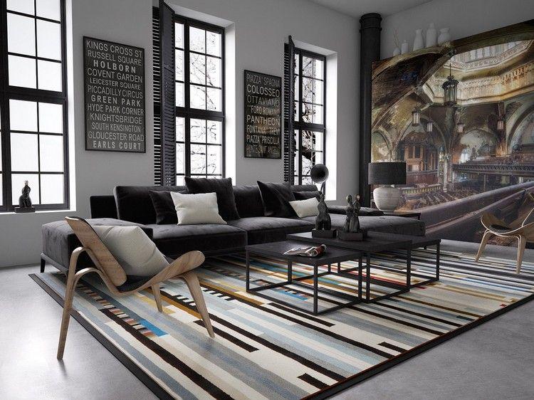 Dekoration für Wohnzimmer mit Poster, Wandmalerei und modernem - wohnideen fürs wohnzimmer