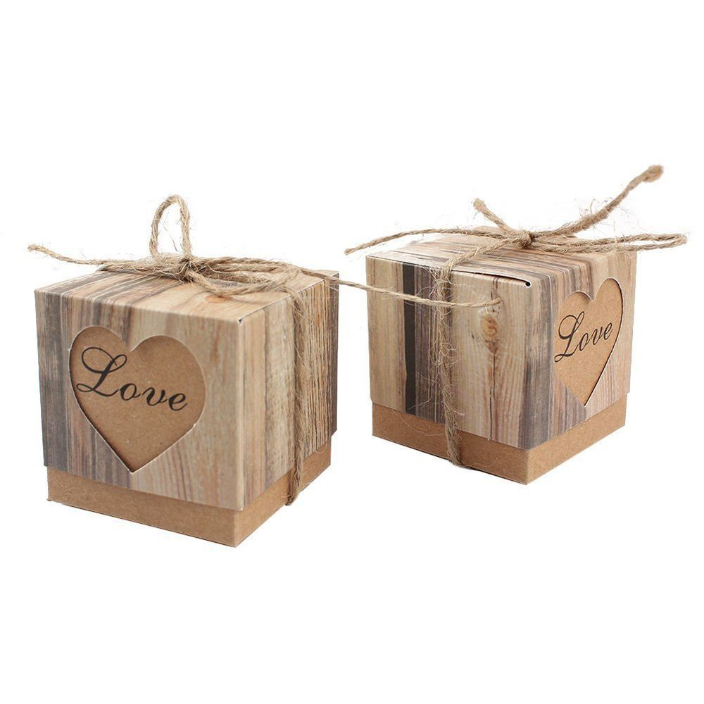 Candy Favor Boxes Vintage Kraft Burlap Twine, Love Heart Imitation Bark Gift Bag #AerWo