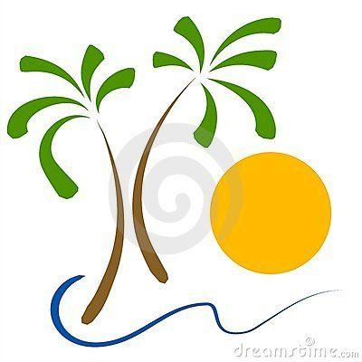 Beach sunshine. Clip art palm tree
