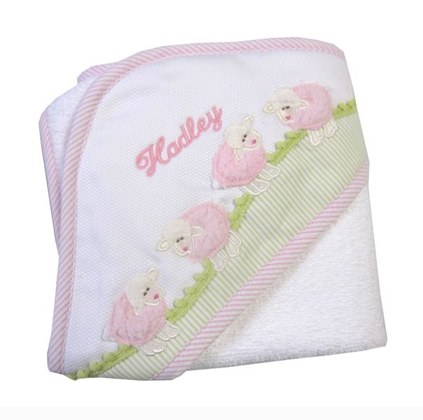 3marthas pink lamb towel is so sweet and so soft for baby girl beautiful appliqued baby girl towel featuring four fluffy pink lambs on a white pique hood that little fingers will love to touch negle Image collections