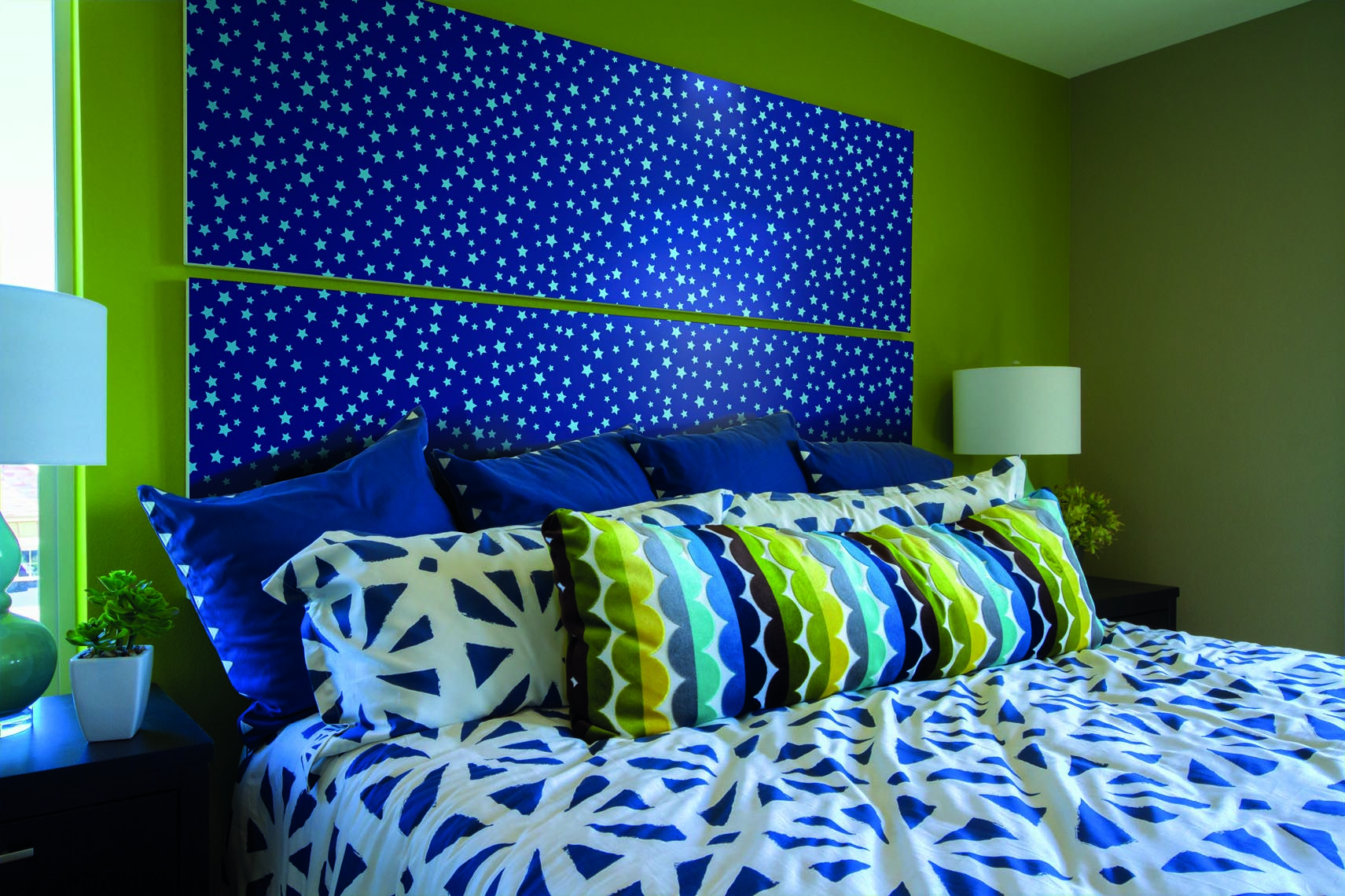 Create Atmosphere With A Handmade Headboard In Velvet Textured Skystars By  D C Fix® The Pale Blue Stars On The Midnight Blue Background Give A Stunning  ...