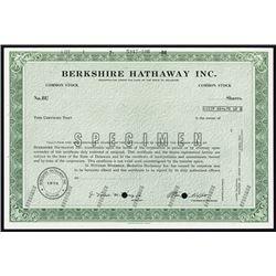 Berkshire Hathaway Inc Specimen Common Stock And Possible Ipo