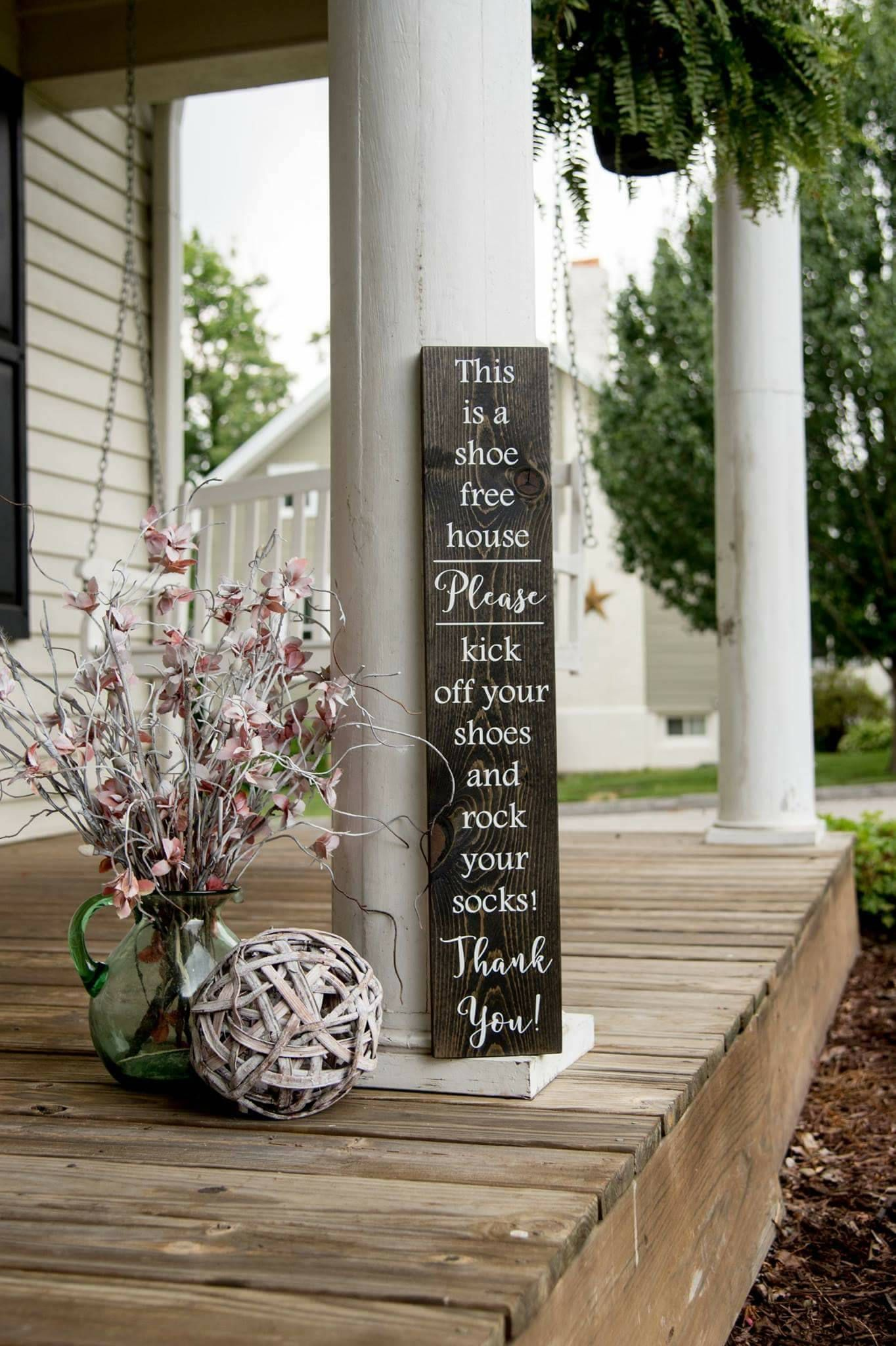 Porch signs welcome my porch barn wood quot what happens on the porch - Front Porches Rock Your Socks Wood Sign No Shoes Front Door Home Decor Wooden
