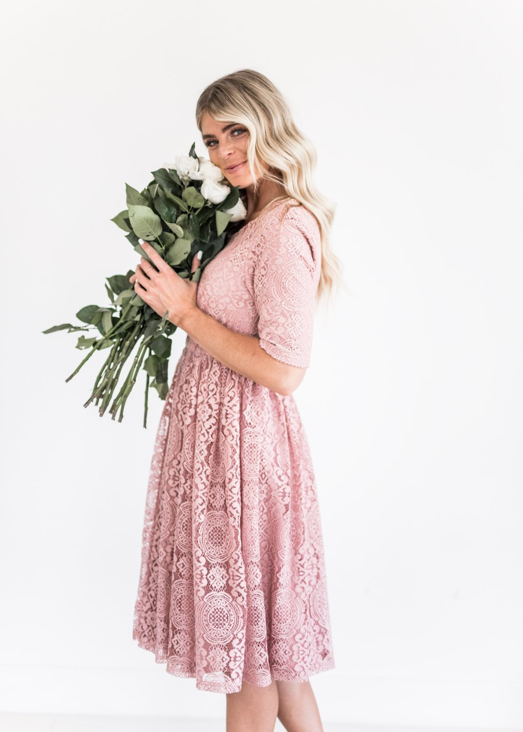 Lace dress rose  Erin Lace Dress in Rose in   Well dressed  Pinterest  Dresses