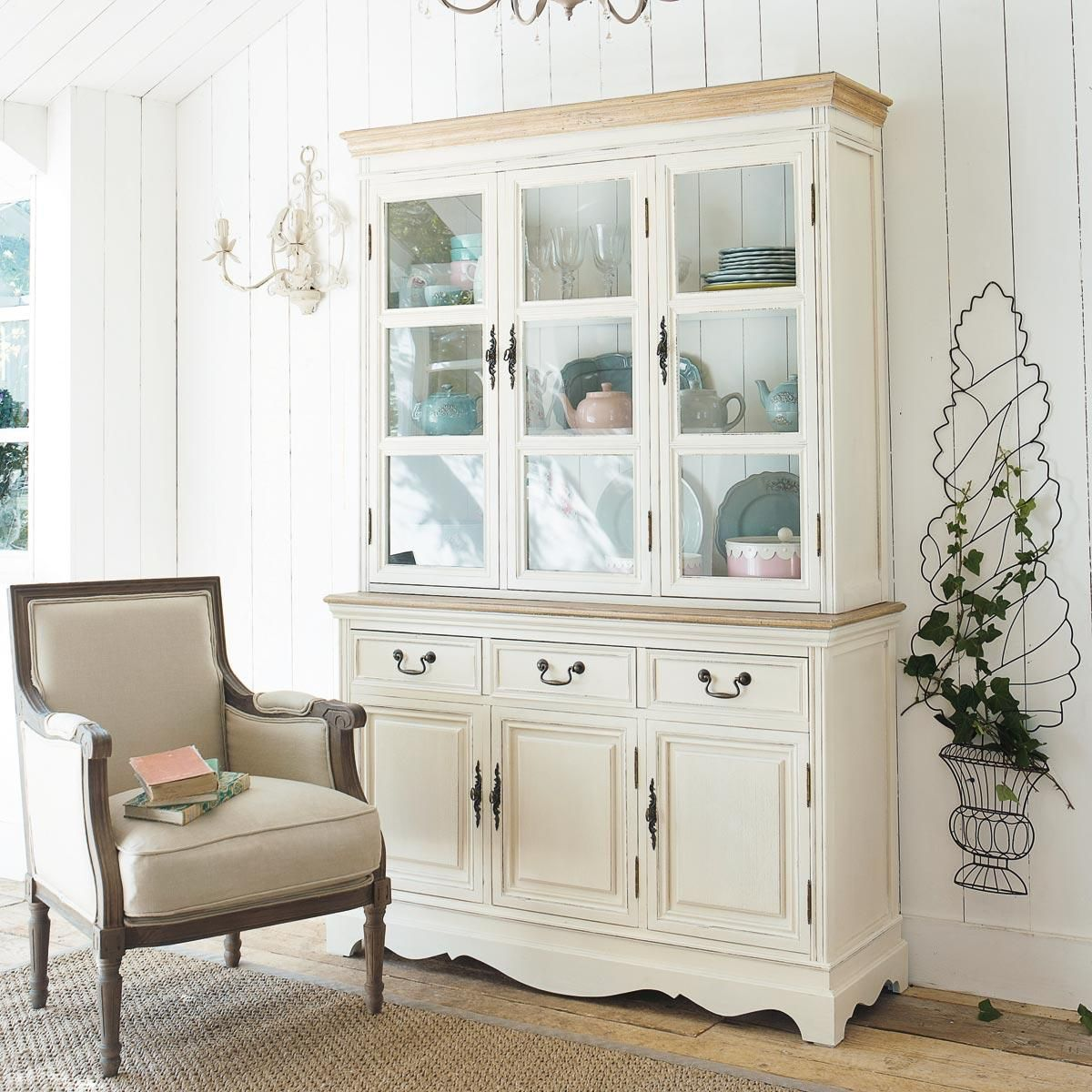 vaisselier en bois de paulownia cr me l 123 cm l ontine maisons du monde buffet pinterest. Black Bedroom Furniture Sets. Home Design Ideas