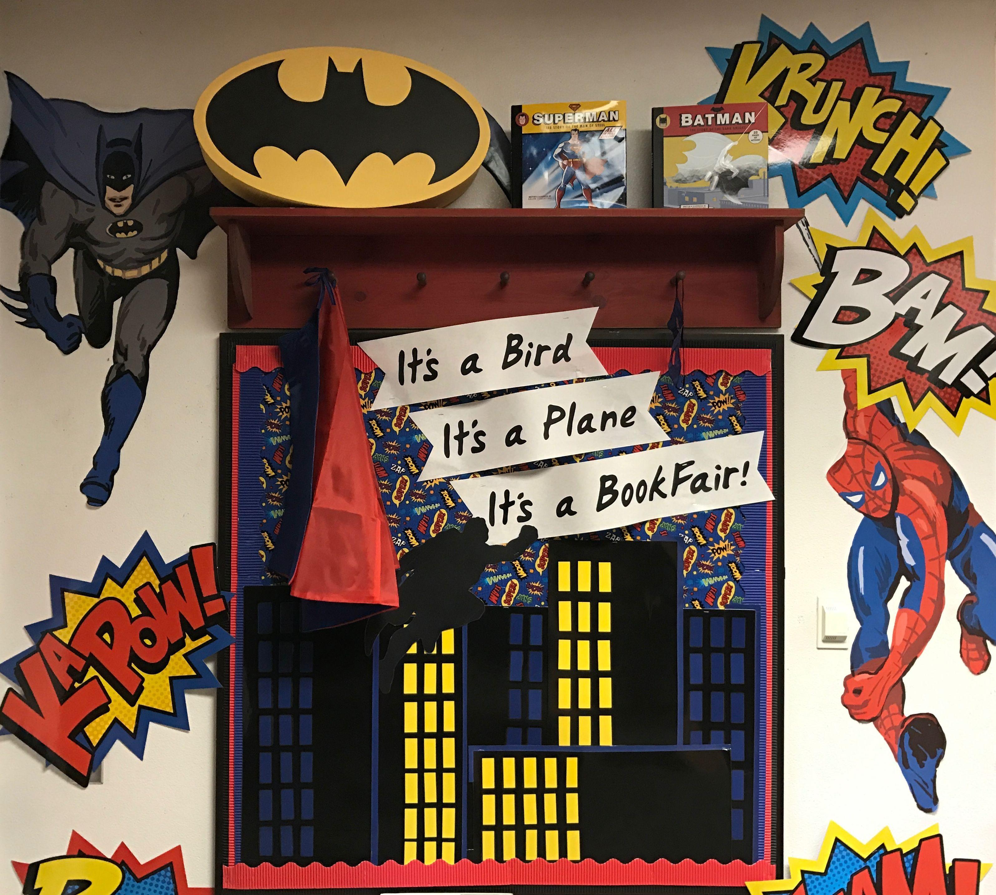 Library Reading Bulletin Board Superhero Book Fair