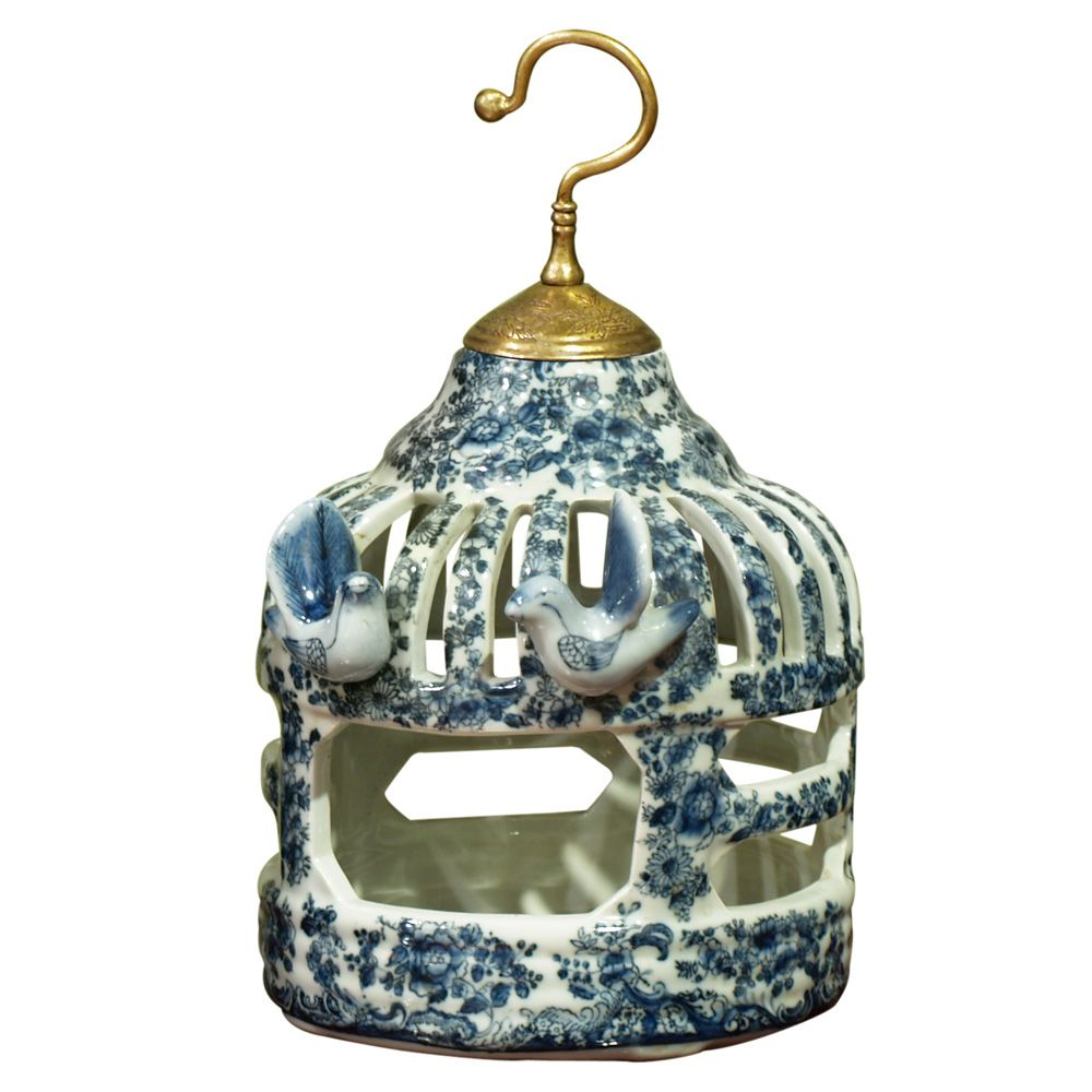 Blue and White Porcelain Bird Cage Asian Candle Holder