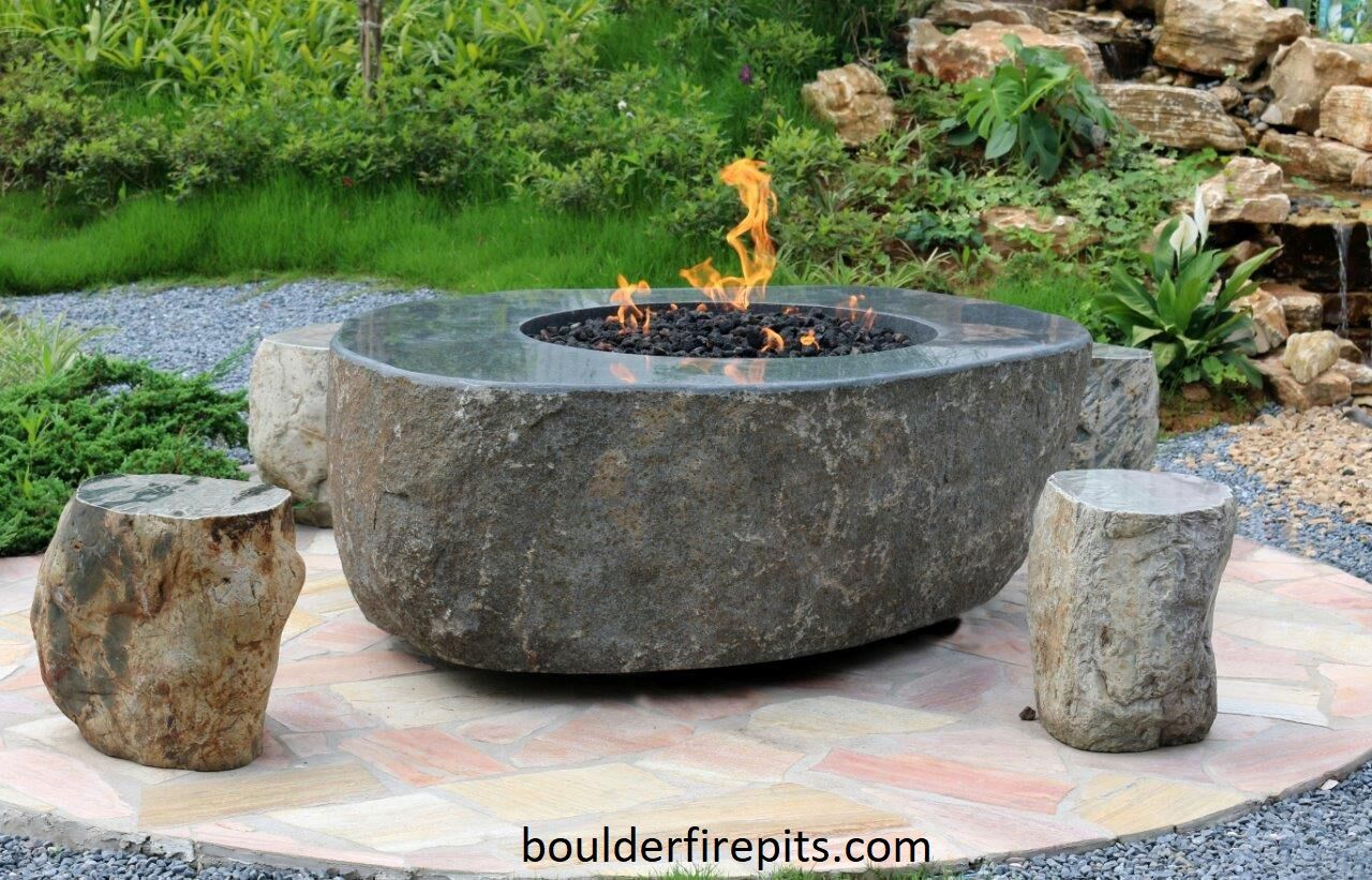 Georgia Boulder Fire Pit Great Choice For A Rustic Setting This Large Granite Boulder Has A Polished Top That Gives I Granite Fire Pit Fire Pit Table Fire Pit