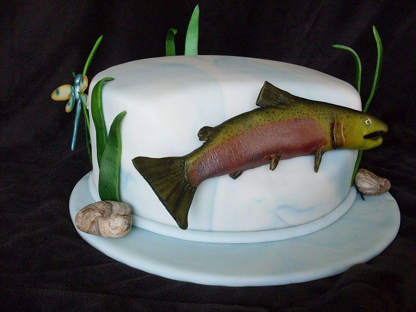 Swell Salmon Birthday Cake For Salmon Gumpaste Dragonfly And Salmon Birthday Cards Printable Opercafe Filternl
