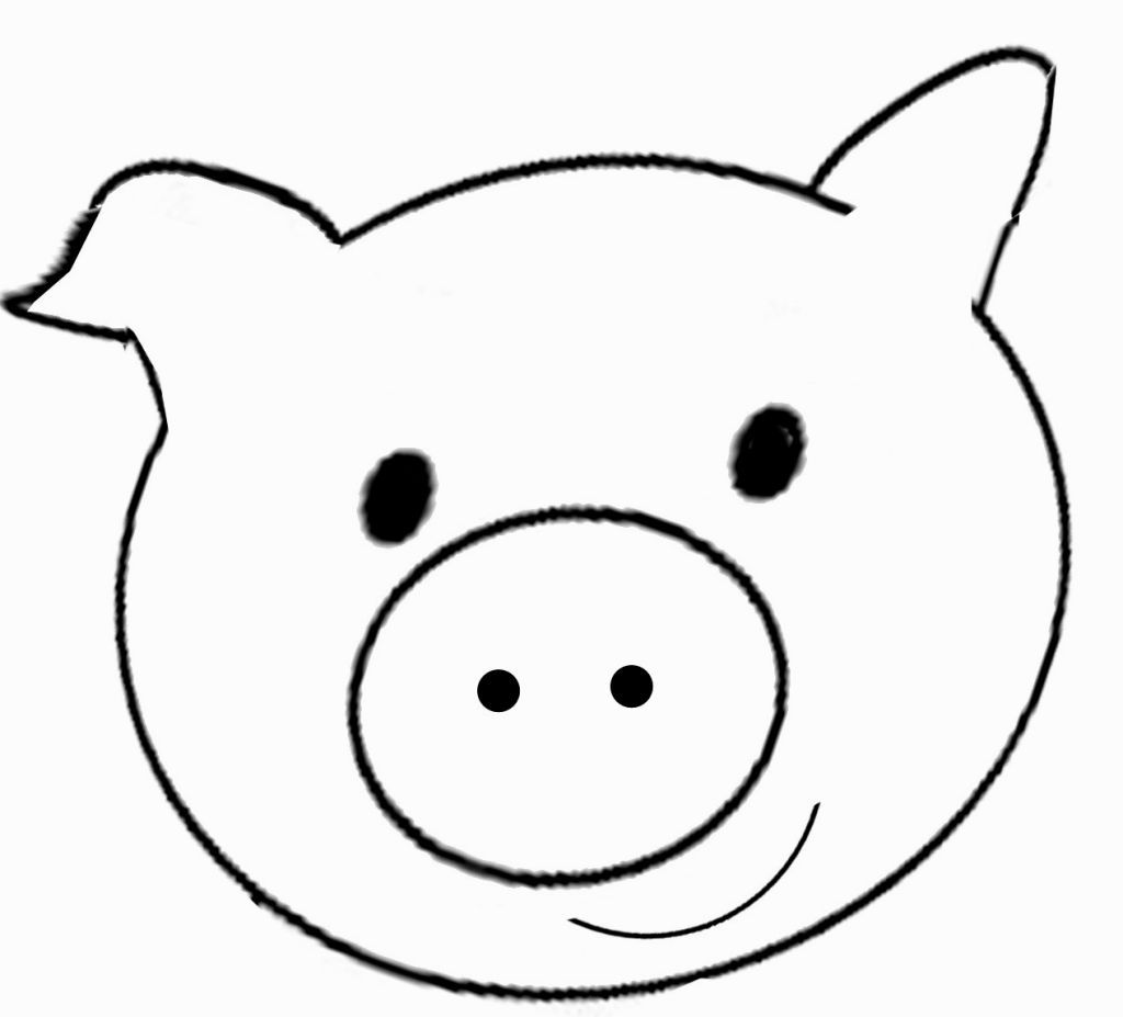 Line Drawing Of A Pig Face : Pig face coloring page pages pinterest