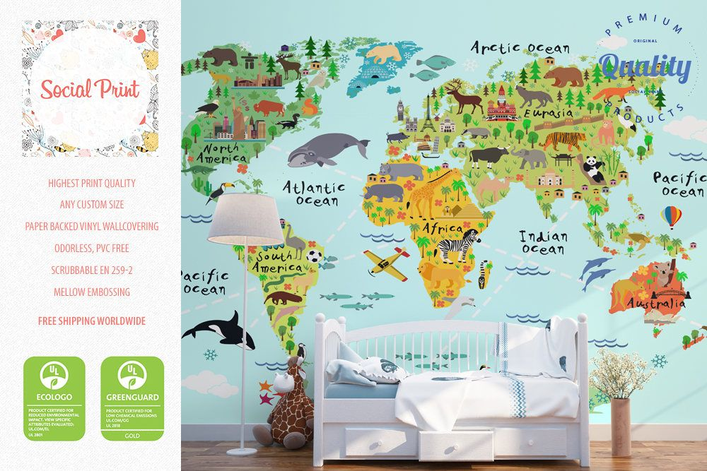 Animal world map wallpaper with landmarks non woven wall covering animal world map wallpaper with landmarks non woven wall covering free shipping washable murals kids room decor educational nursery gumiabroncs Gallery