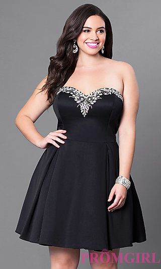 80d759af15da2 Short Plus Size Jewel Trimmed Strapless Sweetheart Dress at PromGirl ...