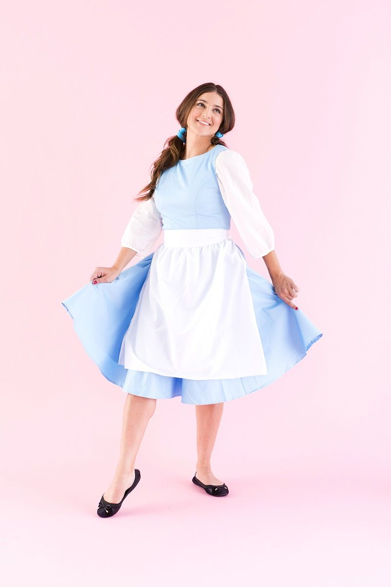Save this DIY Disney Princess Halloween costume tutorial to learn how to dress up as Belle from Beauty + the Beast.