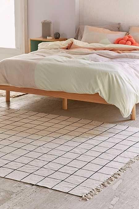 Simple Wonky Grid Printed Rug - Minimalist rug for bedroom Lovely