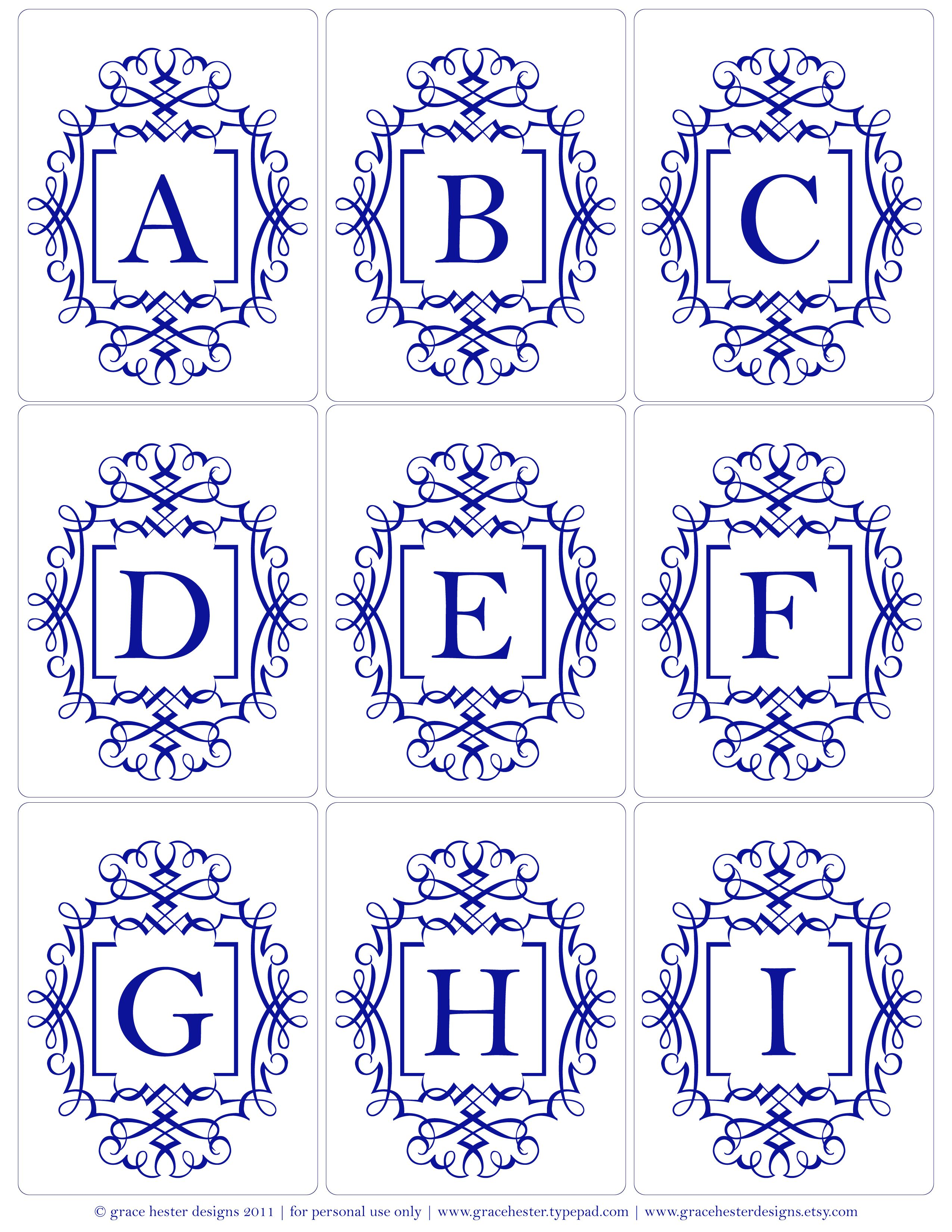 Monogram Printables Also In Grey And Pale Yellow