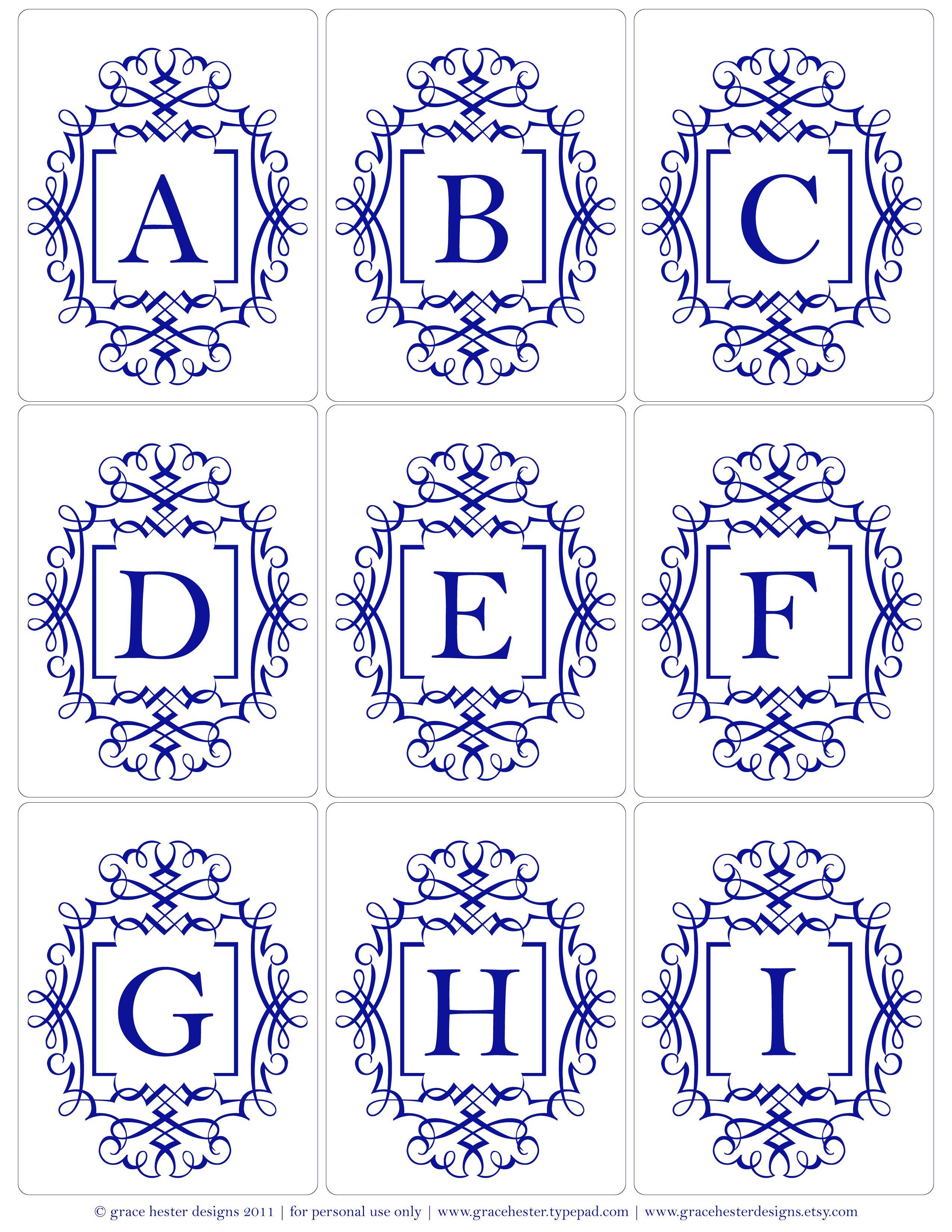 monogram printables, also in grey and pale yellow | ilustraciones e ...
