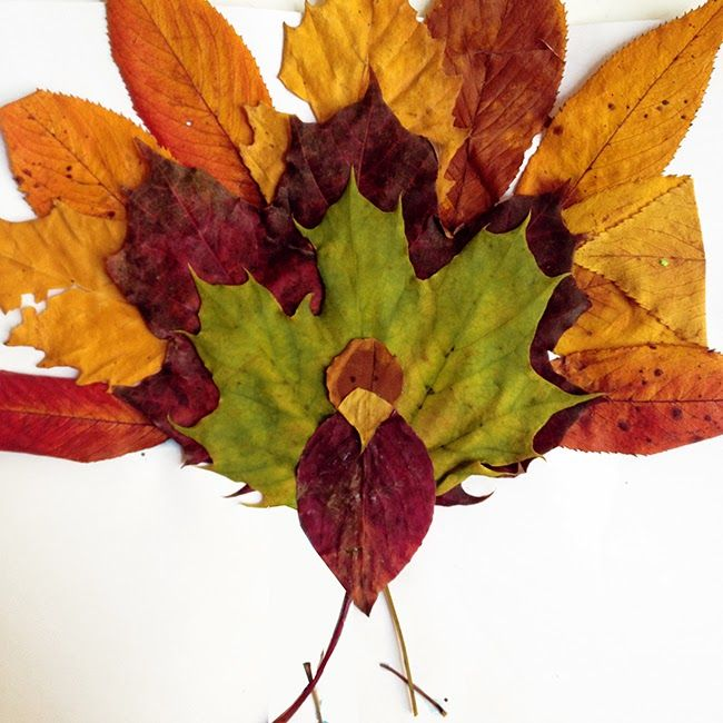 Fun Fall Idea: Make a Leaf Turkey Materials needed: 1. Leaves (of different colors, shapes, and sizes) 2. Glue 3. Scissors 4. Sheet of Paper 5. Black Marker 6. Stems