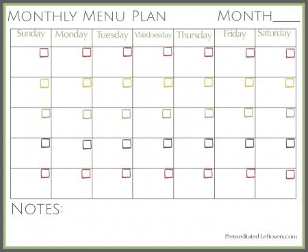 Free Printable Monthly Menu Plan b Pinterest Monthly menu and - workout char template