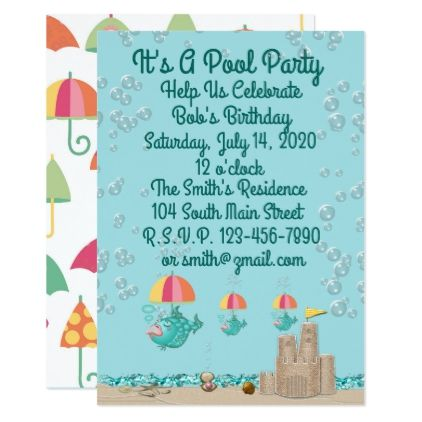 Invitation w Customizable Template For Pool Party Invitation ideas - invitation to a party