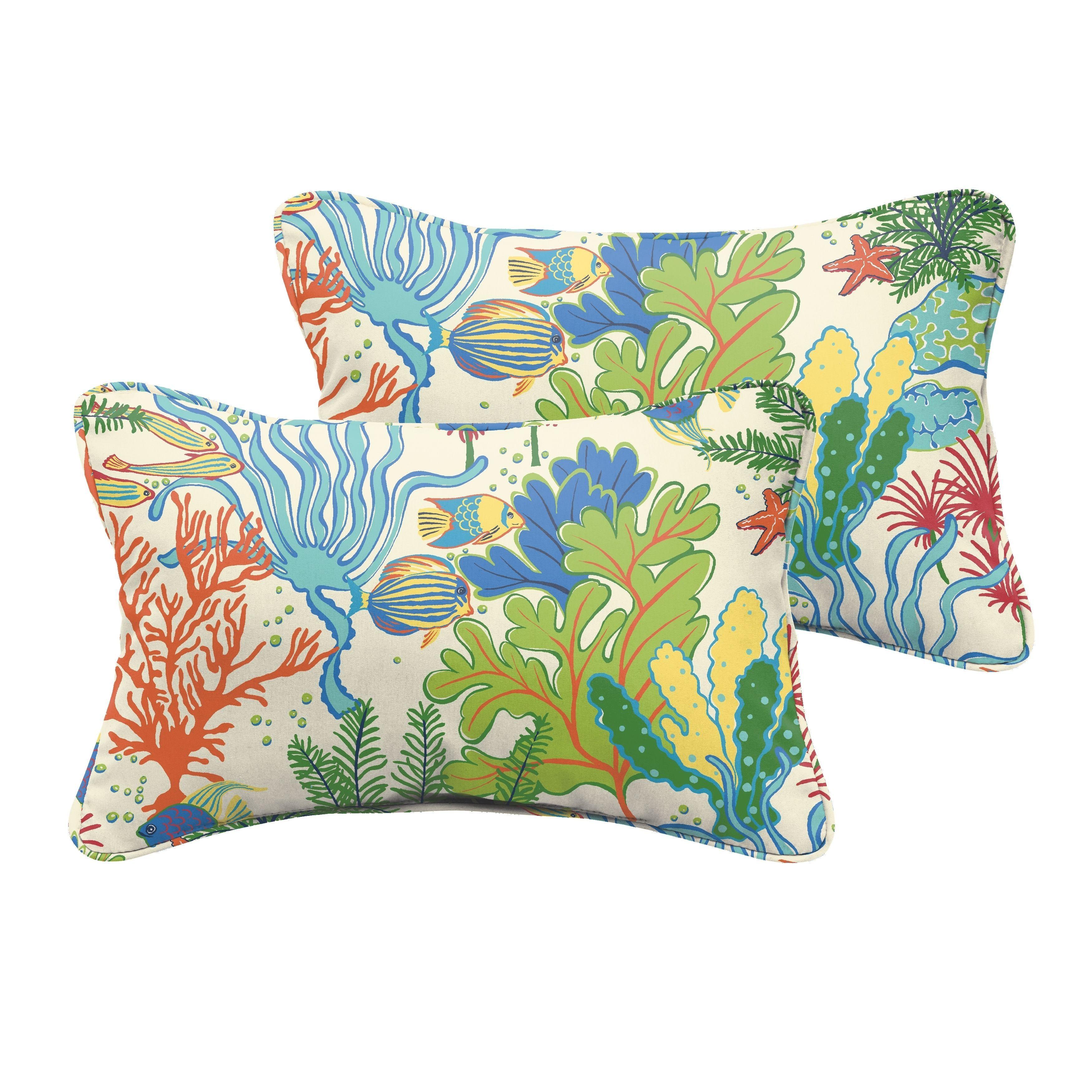 Blue Set of 2 Pillow Perfect Indoor//Outdoor Splish Splash Corded Rectangular Throw Pillow