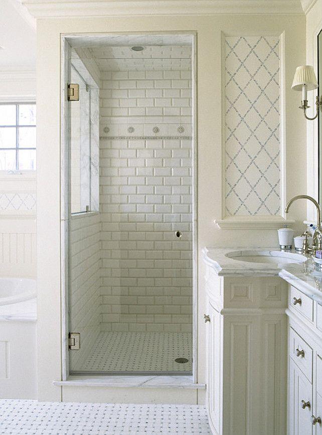 Small White Bathroom Interior Design Ideas With Enclosed Shower.  #Interiordesign | Home | Pinterest | Small White Bathrooms, Bathroom  Interior Design And ...