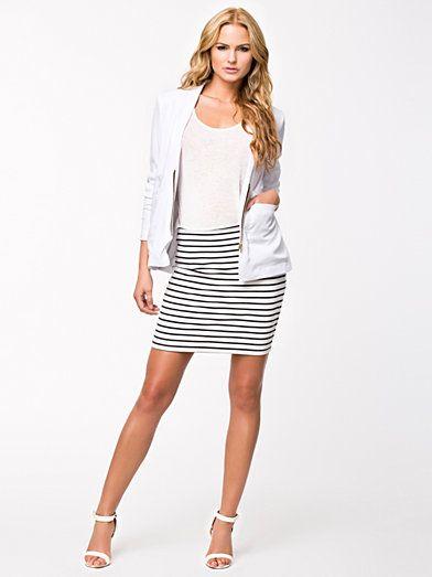 Tinny Zip Skirt - Vila - White/Blue - Skirts - Clothing - Women -