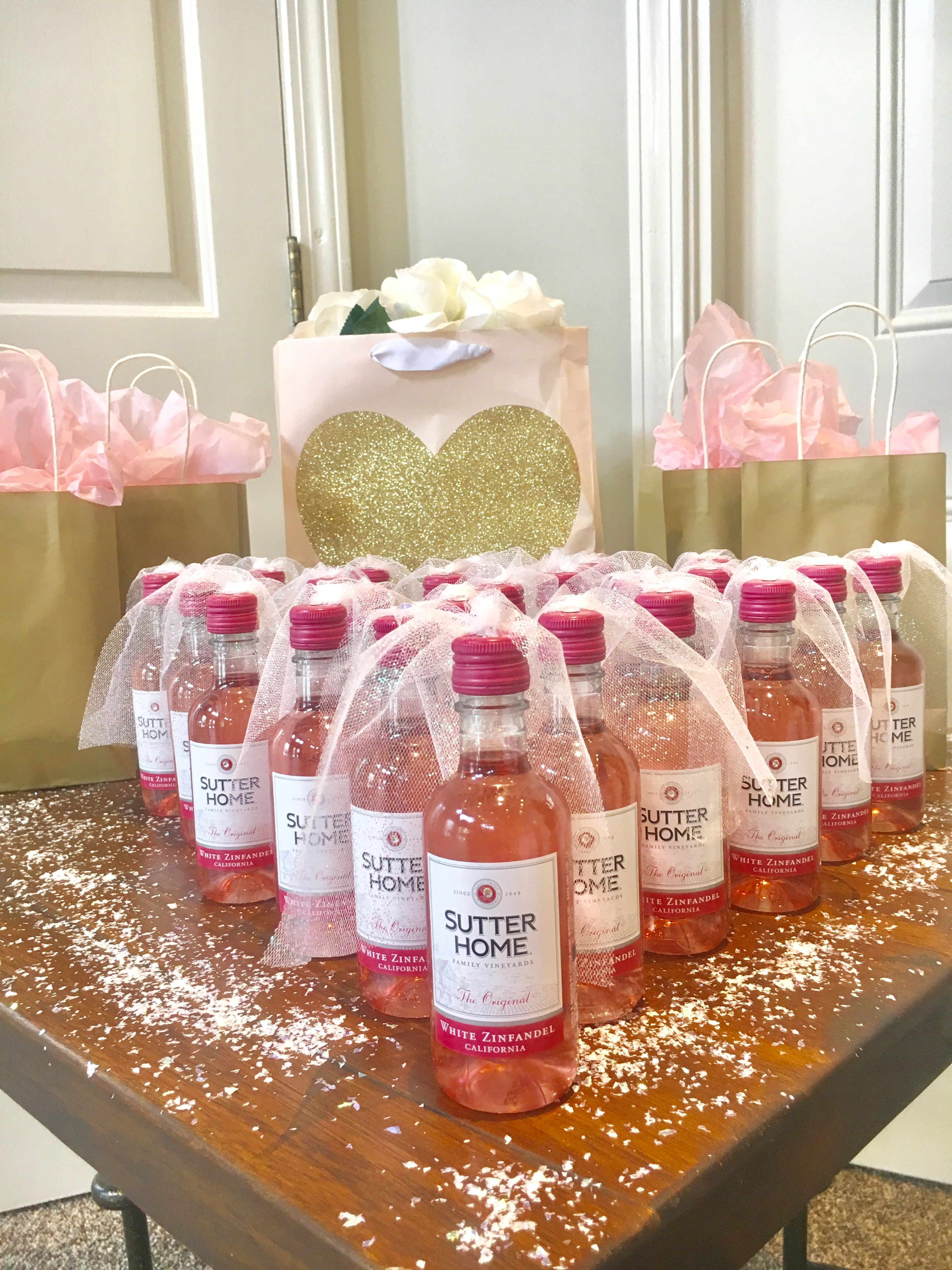 bridal shower party favors mini wine bottles with a little veils