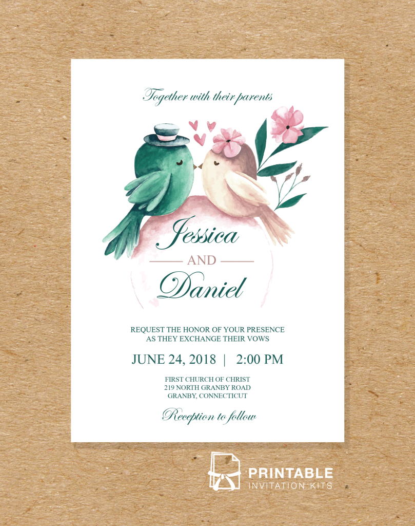 Free to download and print PDF wedding invitation - Printable ...