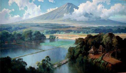 Basoeki Abdullah Pemandangan Gunung Dan Sawah Pemandangan Lanskap Lukisan