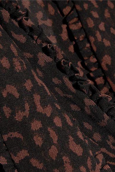 MICHAEL Michael Kors - Pussy-bow Printed Chiffon Blouse - Chocolate