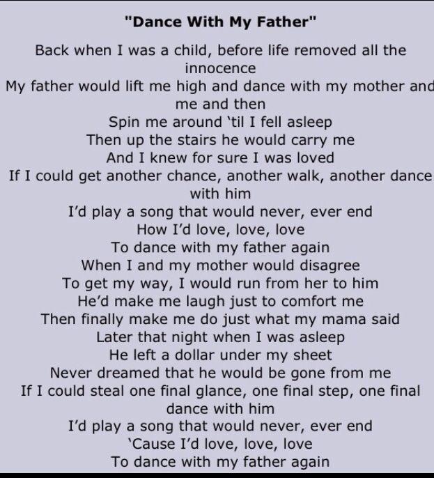 Dance With My Father - Celine Dion (Lyrics) - YouTube